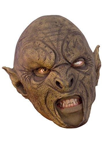 Epic Armoury Schaurige Orkmaske in braun Herrenmaske Halloween LARP Cosplay Orkgesicht aus Latex Faschingskostüm