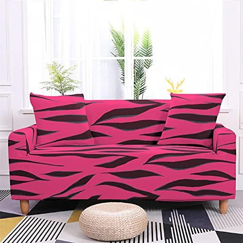 Meiju 3D Fundas de Sofá Elasticas de 1 2 3 4 Plazas, Leopardo Ajustables Cubierta de Sofá Cubre Sofa Antideslizante Funda Cubre Sofas Furniture Protector (Rosa roja,4 plazas - 235-300cm)