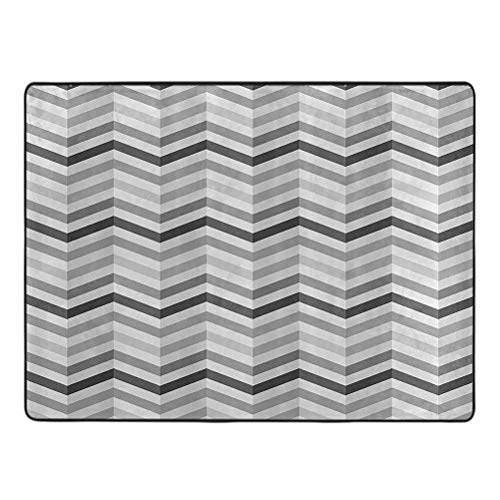 Area Rug shag, Fashion Zigzag Old Cloth Design Pattern with Folding Effect Repeat Minimalist Artwork, 5' x 6' Rugs for Living Room, Platinum Grey