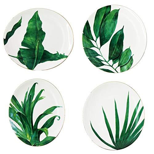 LA VITA VIVA Porzellanteller Ø26 cm mit trendigen Blattmotiven Design Grünes Blatt im 4er Set mit Goldrand