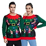 Vintage Festivel Ugly Christmas Sweater Vivid Color Family Couples Matching Xmas Swaters Majestic Pullover Sweatshirt Knitwewar for Womens Mens Vacation Holiday Party
