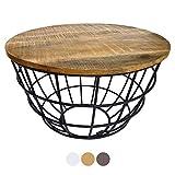 casamia Couchtisch Wohnzimmer-Tisch rund Beistelltisch Lexington ø 55 cm Metall Drahtgestell Gitter massiv Color Tabacco