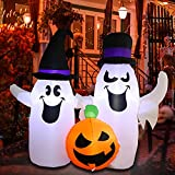 MorTime 4.3 FT Halloween Inflatable Two Ghosts with Pumpkin, Lighted Blow Up Ghosts Yard Prop with Blue Witch Hat Halloween Decorations for Outdoor Yard Lawn Garden Party Decor