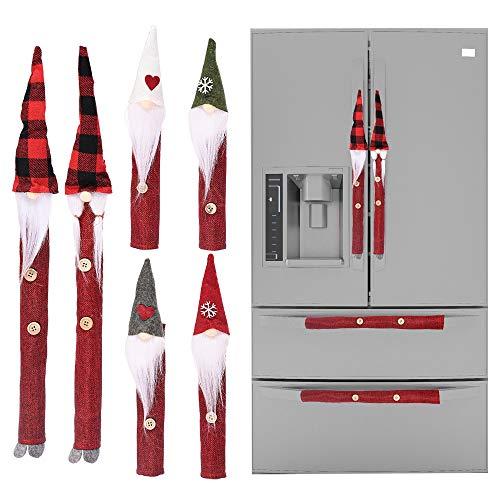 LWAN3 - 8 cubiertas para tirador de puerta de refrigerador, diseño de gnomo de Navidad, para decoración de microondas, horno, lavavajillas, puerta, adornos de Navidad L - 57cm Rojo
