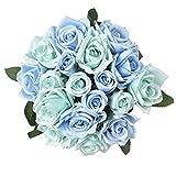 Famibay 2Pcs Roses Fleurs Artificielles (1-Bleu, 2 Bouquet)