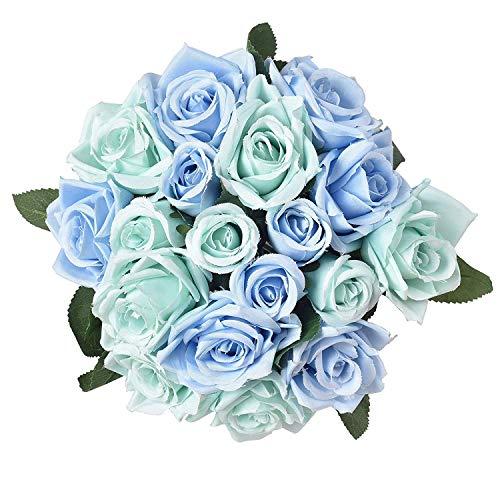 Famibay Rosen Künstliche Blumen 2 Blumenstrauß Blumenschmuck für Haus Gefälschte Blumen Braut Hochzeitsblumenstrauß 18 Rosen Köpfe für Haus Garten (Blau,Keine Vase)