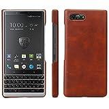 HualuBro BlackBerry KEY2 Hülle, Ultra Slim Premium Leichtes PU Leder Leather HandyHülle Tasche Schutzhülle Hülle Cover für BlackBerry Key 2 Smartphone (Braun)