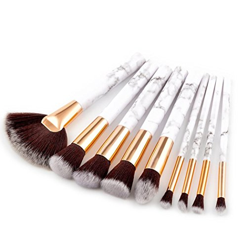 Make Up Pinsel Set 9pcs Solike Marmor Kosmetik Pinsel Schminkpinsel Kosmetikpinsel Lidschatten...
