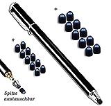 MobiLinyi Premium Touchstift schwarz mit 20 x Ersatzspitzen Eingabestift Stylus Touch Pen kompatibel mit Apple iPhone iPad Samsung Huawei Sony Honor Cubot Smartphones & Tablets