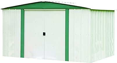 Arrow 10' x 8' Hamlet Storage Shed, Yard and Outdoor Storage for Tools, Lawn Equipment, Pool Toys Eggshell and Green