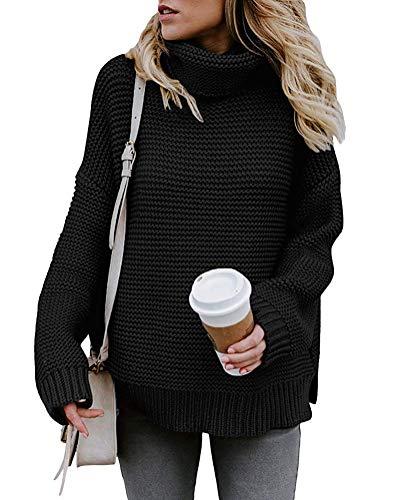 Yidarton Pullover Damen Rollkragenpullover Strickpullover Lässiges Stricken Pulli Winter Sweatshirt Oberteile Elegant, Schwarz, XL