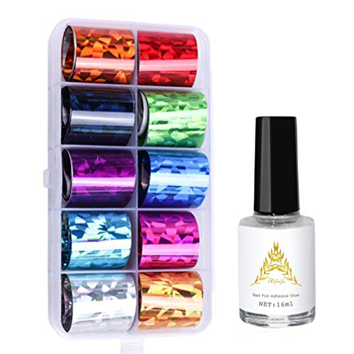AIFAIFA Transfer Foil Nail Art Set, 10 Roll Holographic Nail Foil with 1 Bottle Nail Foil Glue, Packed with Storage Box, Nail Art Supplies for Home DIY Nails, Nail Stickers for Acrylic Nails
