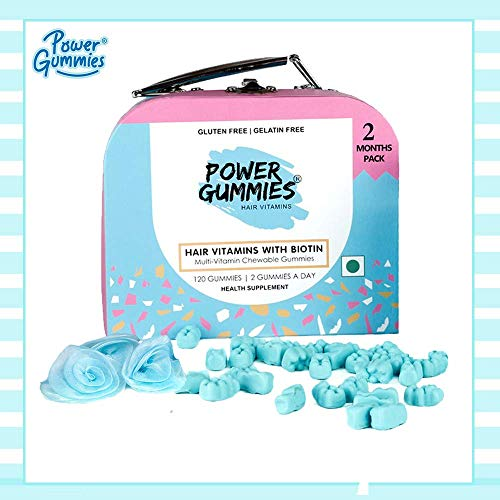 Power Gummies Hair & Nail Vitamins with Biotin & 10 Essential Vitamins - 120 -Pack of 2 (blue) -For Men & Women.
