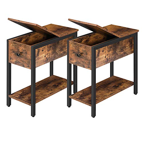 HOOBRO Narrow End Tables, Flip Top Side Table with Storage Shelf, Nightstands, Recliner Side Tables in Living Room Bedroom, Space Saving, Wood Look Accent Table, Rustic Brown BF34BZP201