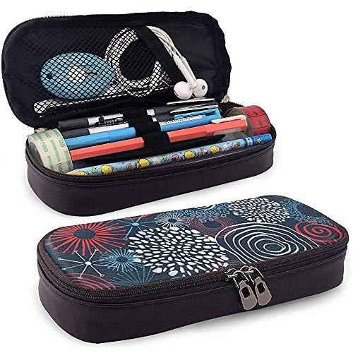 Inky farbige Kreise Leder Bleistift Fall Tasche Geldbörse Stift Stationäre Tasche Kosmetische Make-up-Tasche