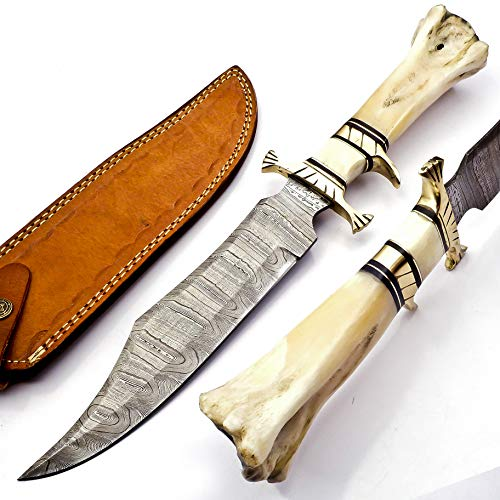 15' Handmade Damascus Steel Hunting Knife, Fixed Blade Bowie Knives, Leather Sheath, Camel Bone Handle Firm Grip (White)