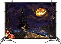 HD 7X5FTハッピーハロウィン夜背景Photograghyオレンジカボチャ満月のおとぎ話ドリームキャッスルシーサイドナイトシーナリーバックドロップアートポートレート写真撮影小道具パーティーの装飾バナー