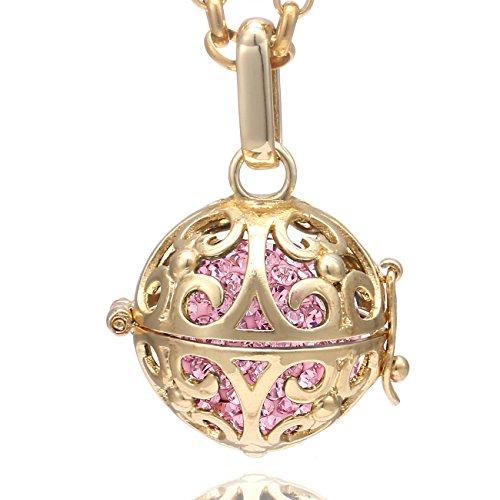 Morella Collana Donna in Acciaio Inox Oro 70 cm con Ciondolo e Sfera Rosa Ø 16 mm in Sacchetto di Velluto