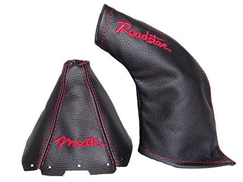 The Tuning-Shop Ltd for Mazda MX-5 MK2 1998-2005 Shift & E Brake Boot Black Genuine Leather RED Miata & Roadster Embroidery