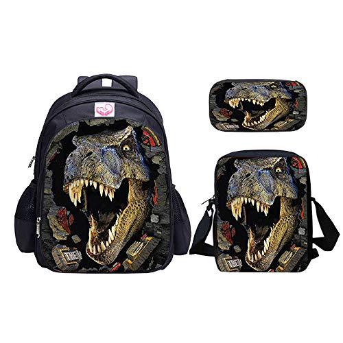 Mochila de dinosaurio y bolsa de almuerzo para niños  de hombro estuche: negro