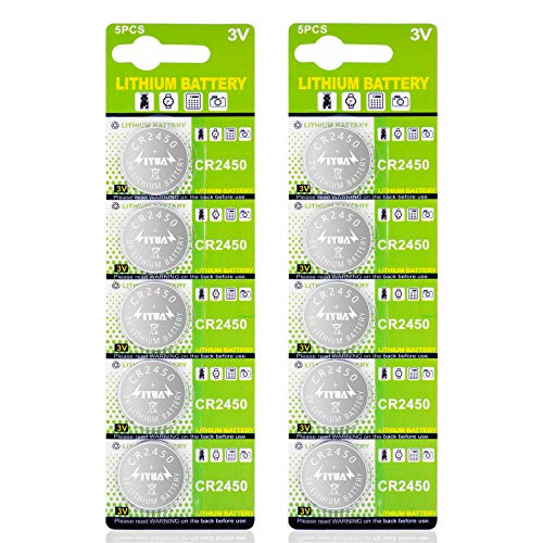 CAMVION CR2450 Battery 3V Lithium Batteries Coin Button Cell - 10Packs