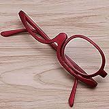 Gafas de lectura maquillaje,Lupa Lente giratoria Lentes de resina Ajuste cómodo-rojo +4.0