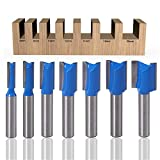 ASNOMY Juego de 7 brocas de corte recto, vástago de 8mm, doble flauta de corte recto, fresadora de madera de carburo, herramienta de carpintería, diámetro de corte 6, 8, 10, 12, 14, 18mm and 20mm
