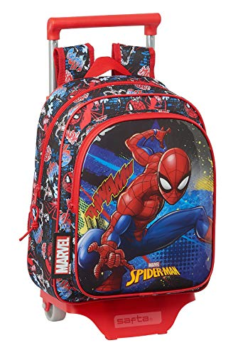 safta Mochila Infantil de SpiderMan Go Hero con Carro 705, 270x100x330mm, negro/rojo, M