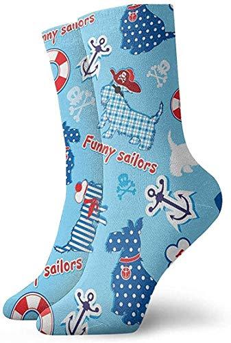 REordernow Socken Atmungsaktive Lustige Scottish Terrier Hunde Unisex Athletic Crew Socken Strumpf Lässige Baumwoll Söckchen 30cm