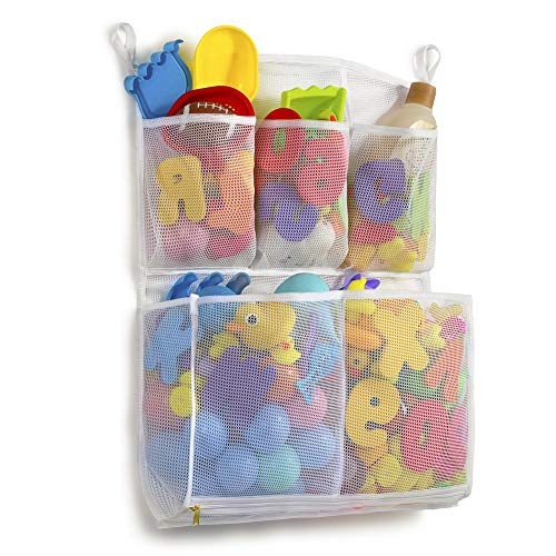Tenrai Mesh Bath Toy Organizer, 4 Ultra Strong Hooks, Bathtub Storage Bag, Multi-Purpose Baby Toys Net, Toddler Shower Caddy for Bathroom, Kids Toy Holder with 5 Soap Pockets