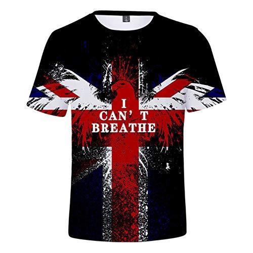 RENDONG No Puedo Respirar La Camiseta del Cuello De La Bandera Nacional 3D Impreso De Manga Corta T Unisex S-3XL,B,5XL
