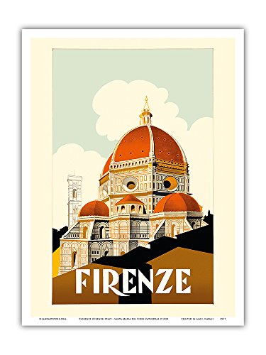 Florence (Firenze) Italy - Santa Maria del Fiore Cathedral, the Duomo of Florence - Vintage World Travel Poster c.1930 - Master Art Print - 9in x 12in
