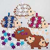 """Baker Ross AX460 Kits Decoración De Espuma De L""""Árbol De Navidad Erizo De Nieve- Paquete De 5, Suministros Creativos De Arte Y Manualidades Navideños Para Que Los Niños Hagan Y Decoren"""
