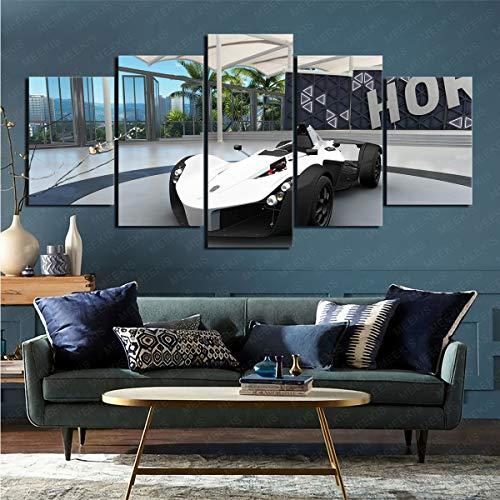 mmkow Pintura sobre Lienzo Videojuego de 5 Piezas Forza Motorsport: Horizon 3' Arte de la Vida para la decoración del hogar 80x150cm (Marco)