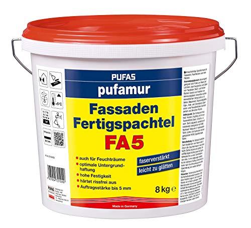 pufamur Wand Fassaden Fertigspachtel FA5 faserverstärkt für innen und außen - 8 kg Eimer