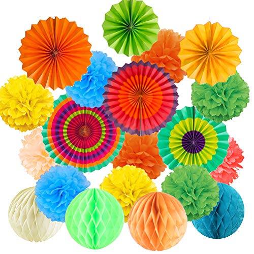 BUYGOO 21 Piezas Decoración Fiesta Abanicos de Papel Flores Pompom Bolas de Nido de Abeja Guirnaldas para Celebración Fiesta Cumpleaños/Boda/Nacimiento/Navidad
