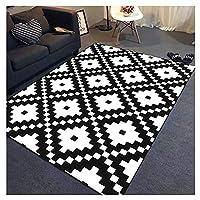 滑り止めの縞模様の敷物、居間の敷物/屋外の敷物のための黒と白の敷物-160×230cm/63×91 inch