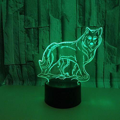Regalos Lampara Luce notturna notturna del Lampada illusione del lupo 3D colorato principale luce stereo visiva della luce di illusione