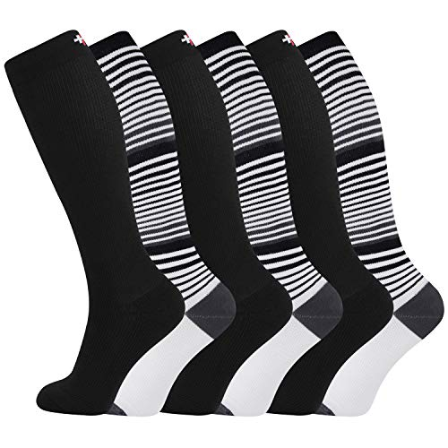 +MD Bamboo Compression Socks 8-15 mmHg for Women & Men 6 Pairs …