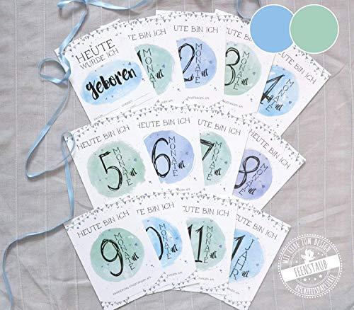 Baby Meilenstein-Karten für erste Baby-Jahr in Tasche, Milestone-cards Junge blau grün deutsch
