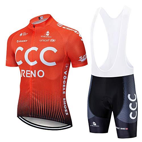 Estate Completo da Ciclismo Uomo, Abbigliamento da Ciclismo Estivo Maglia Maniche Corte+5D Gel Cuscino Traspirante e Asciugatura Rapida per MTB Bici da Corsa