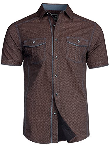 Trisens Herren Hemd Shirt Kurzarm Baumwolle Kontrast Knopfleiste Polo Party, Größe:L, Farbe:Bordeaux