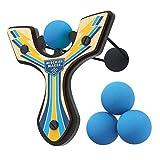 Mighty Fun! Mischief Maker Racing Series Wooden Toy Slingshot and Soft Foam Balls (Blue Lightning)