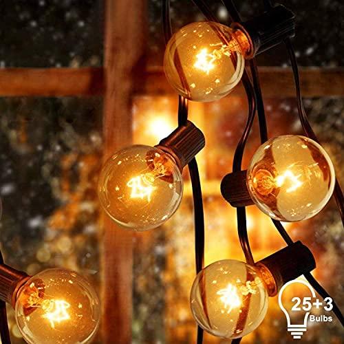 Adoric Innen/Außen-Lichterketten G40 Lichterkette mit Draht Glühbirnen|25+3Ersatzbirnen|7W|7,62m anschließbar Wasserdichte Beleuchtung |Dekoration für Garten,Hochzeit Party, Weihnachten usw- Warmweiß