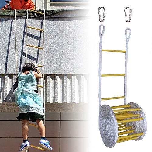Chengstore Fluchtleiter Seil, Strickleiter, Outdoor Holz Nylon Strickleiter mit 2 Schnallen, Notfall Feuerleiter für Kinder und Erwachsene Flucht vom Fenster und Balkon