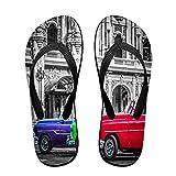 Sandales unisexes minces à bascule,Streetlife avec une voiture classique a, Tapis de yoga Flip Flops plage confortable bracelet en cuir avec légère en EVA Sole Taille L