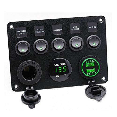 Daojun 5 Interruptor de la cuadrilla Coche Barco Marina Rocker Panel a Prueba de Agua del Circuito del voltímetro Digital de Doble Puerto USB 12V de Salida en Forma for el BMW E46 Audi A4