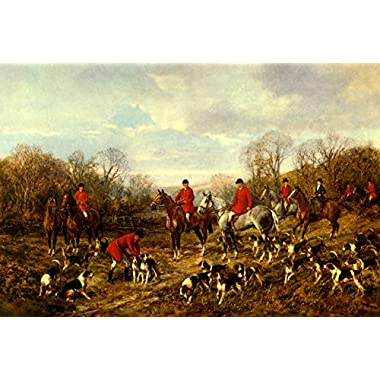 AUTUMN MEETING ENGLISH HUNTERS FIELD HUNTER HORSES FOXHOUND DOGS PAINTING BY HEYWOOD HARDY ON CANVAS REPRO