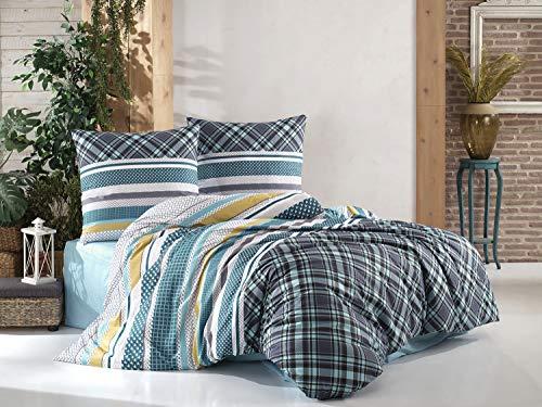 Juego de ropa de cama Deluxe de 3 piezas de 100% algodón reforzado con cremallera, 1 funda nórdica y 2 fundas de almohada, tamaño cómodo, tamaño 200 x 220 cm, color estampado