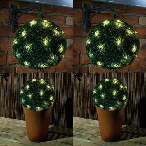 HZ Enterprises 2 x 20 LED Solar Powered Topiary Ball Hanging Garden Light Ornament 28 cm Round Green Topiary Ball